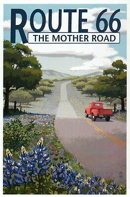 Route 66 The Mother Road, Truck on Highway Wildflowers & Trees - Modern Postcard