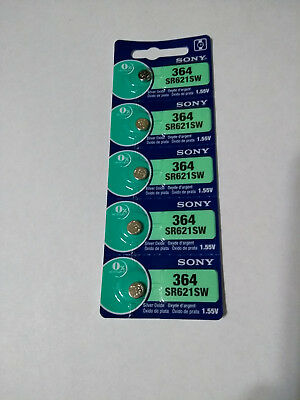5 Pcs Sony 364 SR621SW AG1 LR60 164 LR621 1.5V Silver Oxide Button Cell Battery