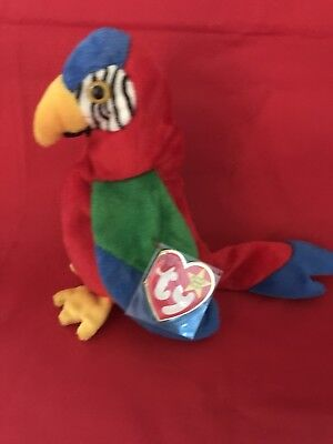 TY Beanie Babies JABBER, the colorful talking parrot, Beautiful!!!