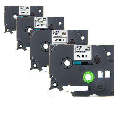 """4 Pack Black on White Label Tape TZ231 TZe231 12mm (1/2"""") 8m for Brother P-Touch"""