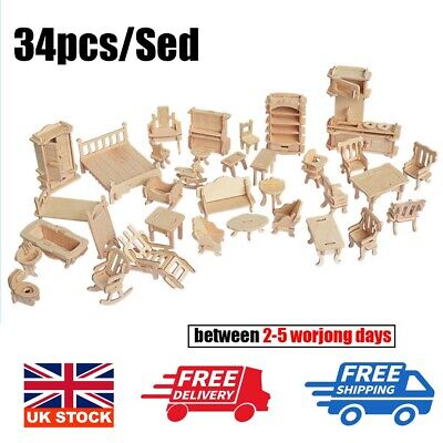 34Pcs/ Set Vintage Wooden Furniture Dolls House Miniature Toys Kids Gift New