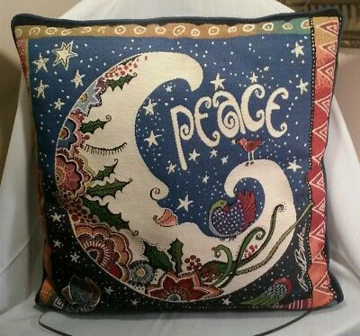 Laurel Burch Peace Moon Decorative Tapestry Throw Pillow Holiday Christmas Rare