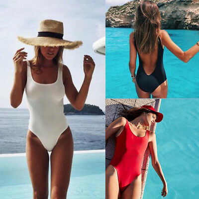f78dc534783f5 Women Retro 80s 90s Elastic High Cut Low Back One Piece Swimwear Bathing  Suits