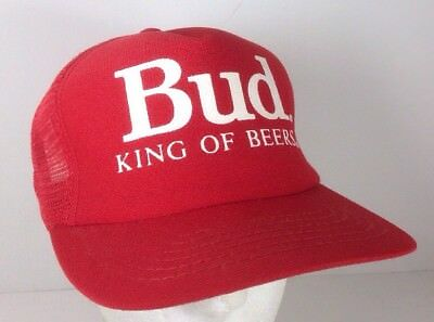 c45a0d64fb3ed BUD KING OF Beers Hat Budweiser Red Snapback Trucker Hat Made in the ...