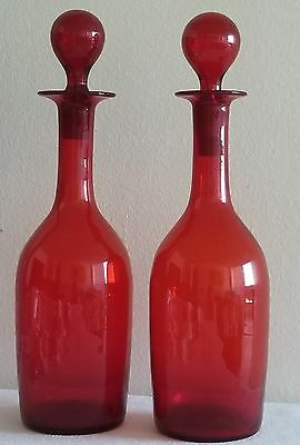 """Pair Of Vintage Fine Hand Blown Art Deco Ruby Red Decanter/stopper 12"""" Tall"""