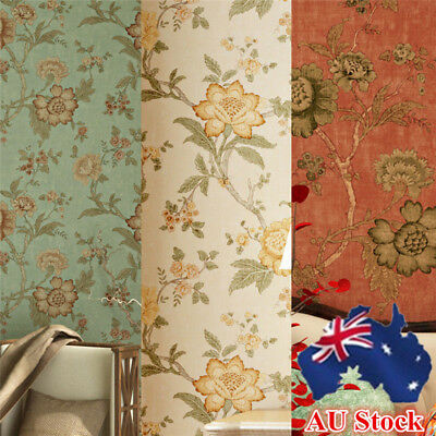 53*1000cm Floral Retro Vintage 3D Textured Feature Art Wall Paper Wallpaper AU