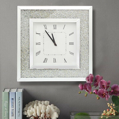 50cm Silver Diamond Crystal Crush Display Beveled Mirror Glass Wall Square Clock