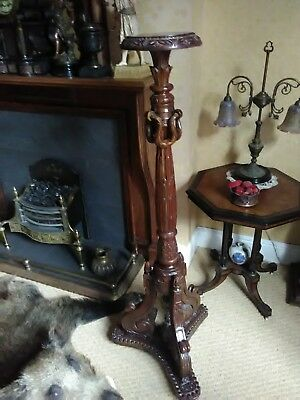 tall walnut torchiere plant / bust stand