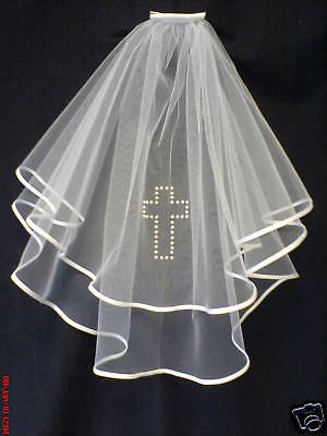 Communion / Confirmation Veil White Satin Pearl Cross
