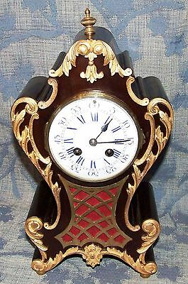 French Antique Mahogany and Ormolu Bracket / Mantel Clock : JAPY FRERES & CIE