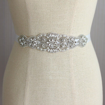 Bridal Wedding Sash Belt Rhinestone Crystal Bead Jeweled Pearl Dress Decor Part
