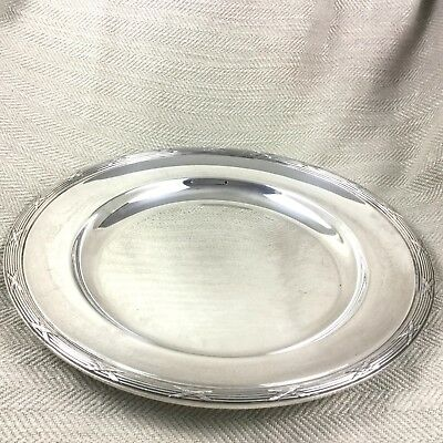 Christofle Tray Round Silver Plated Large Platter Rubans Ribbon & Reed