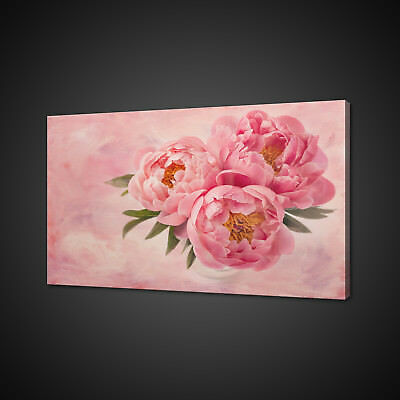 Pink Peony Flowers Canvas Picture Print Wall Art Home Decor Free Delivery
