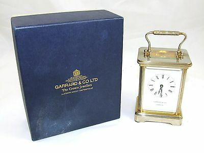ENGLISH GARRARD & CO LONDON W1 Brass Carriage Clock with Original Box WORKING