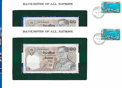 Banknotes of All Nations Thailand 1980 10 Baht P87a.2 UNC sign 53 2 consecutive