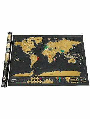 Deluxe Large Scratch Off World Map Poster Personalized Travel Gift Wanderlust