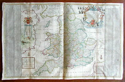 Moll c.1710-40 Great Britain South huge wall map England Wales decorative