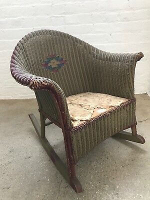 Vintage Brown/Burgandy Children's Wicker Rocking Chair, $200