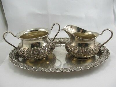 A G Shultz & Co Repousse' Floral Sterling Sugar Creamer Tray Set Xlnt Condition