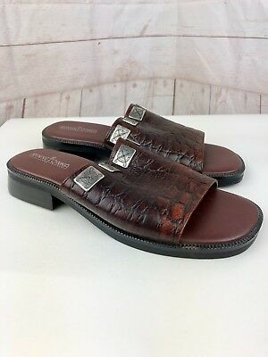 Minnetonka Women's Brown Leather Slip On Open Toe Croc Print Sandals Size 8