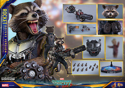 MARVEL Rocket Deluxe Ver Action Figure Hot Toys Guardians of Galaxy Vol 2 MMS411