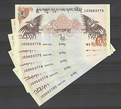 BHUTAN - Set of 5 Banknotes Notes - 5 Ngultrum 2006 - P 28a P28a (UNC)