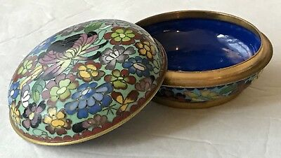 Vintage Floral Enamel Hand Painted Brass Round Trinket Jewelry Box 3-1/4""