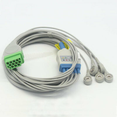 One-piece 5 Leads ECG Cable with Snap for GE Marquette Dash 3000 IEC 11pin