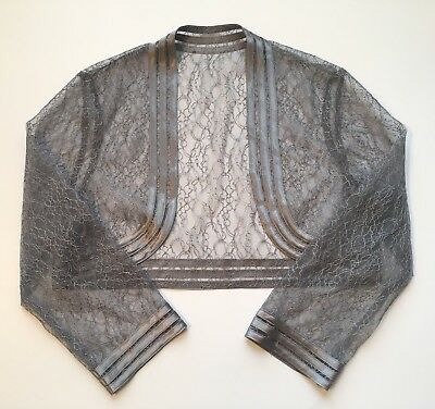 Unbranded gray grey floral lace cropped 3/4 length sleeve bolero jacket formal