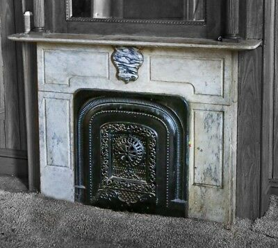 Salvaged Chicago Antique American Variegated Marble Mantel