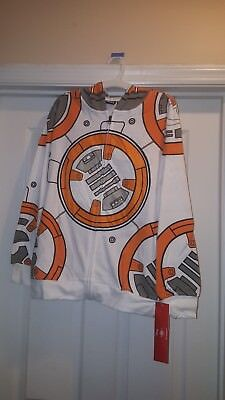 Star Wars BB-8 Kids Costume Zip Up Hoodie Size Large Disney BB8 sweatshirt