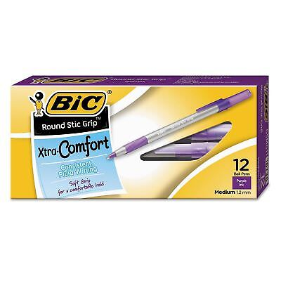 BIC Round Stic Grip Xtra Comfort Office Ballpoint Pen Medium Purple Ink 12ct New
