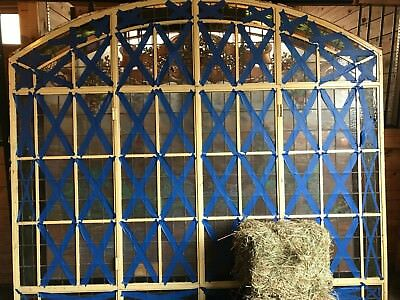 Priced to sell !! architectural salvage iron framed window stained leaded glass