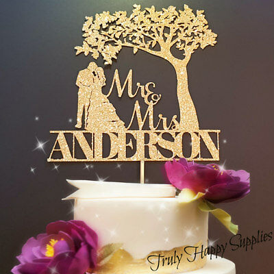 LUXURY Personalised Mr & Mrs Wedding Cake Topper With Tree In Glitter Card