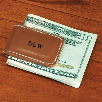 PERSONALIZED Leather Magnetic Money Clip Wallet Mens Brown ~