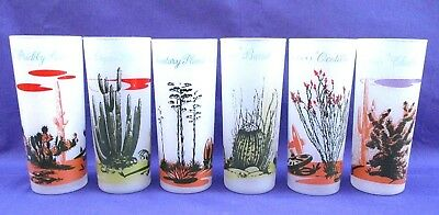 Set Of 6 Vintage Blakely Oil & Gas Arizona Cactus Frosted Glass Tumblers