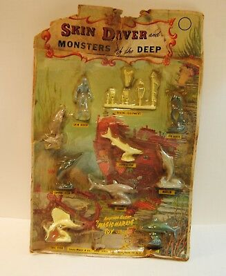 67d4b939 VINTAGE MARX TOYS Skin Diver and Monters of the Deep Blister Card ...