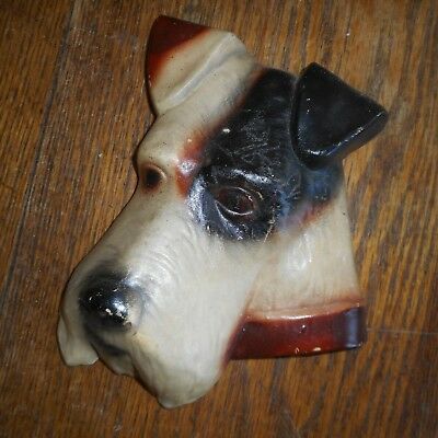 Vintage 3-D Ceramic Dog Wall Hanging Plaque-Fox Terrier-Airedale