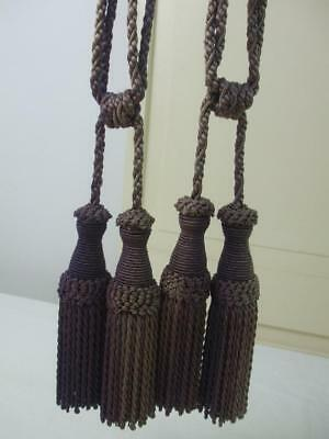 Large Pair Tapestry Curtains Tassels Tiebacks Faded Wine Burgundy Color Vintage
