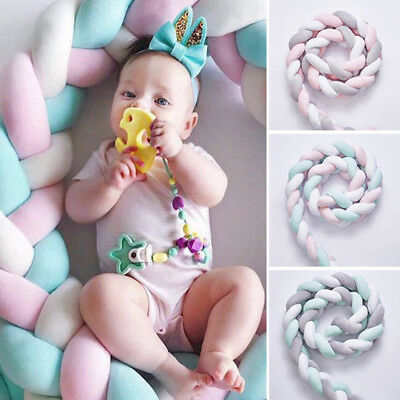 Bumper Pillow Braid Crib Infant Baby Soft Decoration 2 Meters Bedding Toddler
