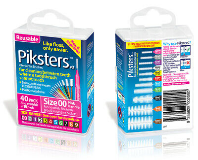 New Piksters Interdental Brush 40 Pack Size 00 Pink Handle Floss Teeth Cleaning