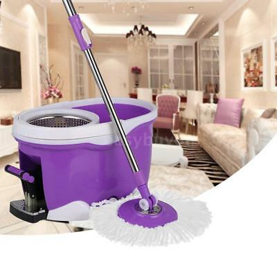 360°Rolling Spin Mop & Bucket Set Foot Pedal W/ 2 Microfiber Mop Heads Red F2A5