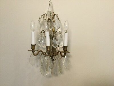 A pair of beautiful ANTIQUE FRENCH CRYSTAL  chandeliers WALL LAMP