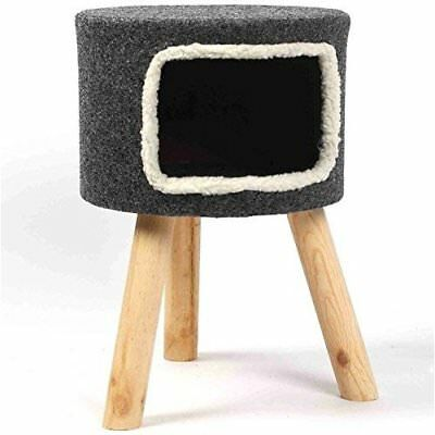Grey Cat House Bed Cave Kitten Den Raised Igloo Pet Sturdy Stool Wooden Legs UK