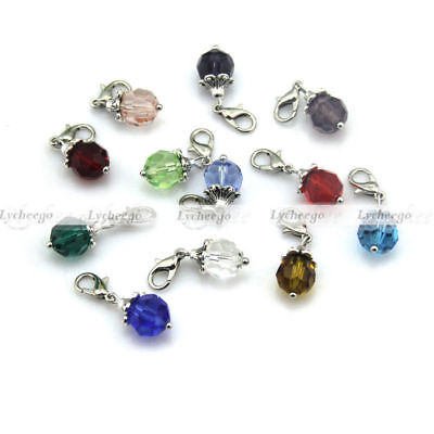 Crystal Dangle Bead Drop Charms for Floating Living Memory Locket Chain Clip On