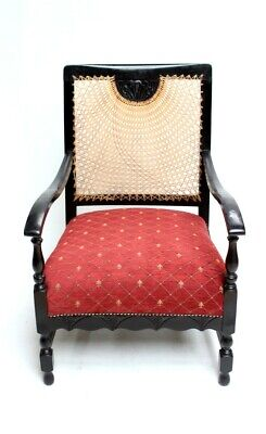 Antique Victorian Ebonized Cane Back Armchair - FREE Shipping [PL4332A]