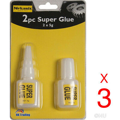 6 X 5g STRONG SUPER GLUE ADHESIVE SURFACE INSENSITIVE FAST INSTANT GLUE TOOL
