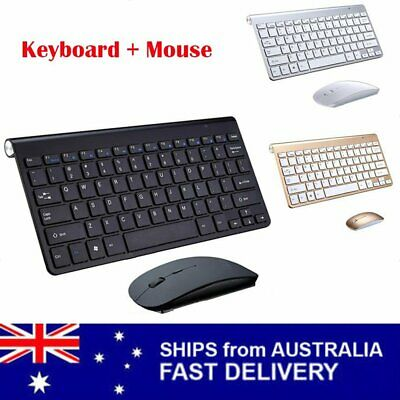 Slim Wireless Keyboard + Cordless Optical Mouse Combo for PC Laptop Win7/8/10 AU