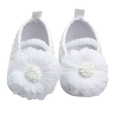 Baby Girls Toddler Soft Sole White Infant Slippers Baptism Christening Shoes