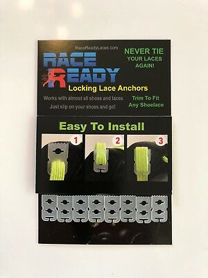 16 Race Ready...Locking Lace Anchors...Never Tie Your Shoes Again!..Easy Install